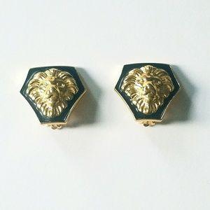 Gold Black Enamel Lion Door Knocker Clip Earrings